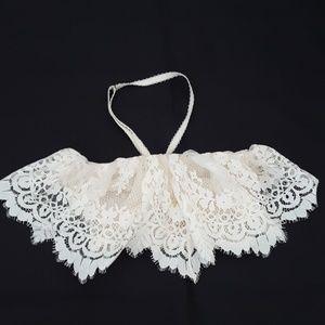 VICTORIA SECRET PINK Unlined Demi Bra 32C 32D 32DD White Ivory Lace pretty